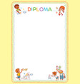 template for childrens diploma vector image