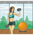 Woman with barbell in retro vector image