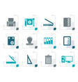 stylized print industry icons vector image vector image