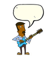 cartoon man playing electric guitar with speech vector image