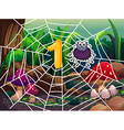 Number one and one spider on web vector image
