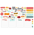Set of hand drawn sketch elements for diary vector image