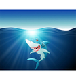 Cartoon funny shark on the sea vector image
