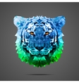 Bengal tiger poly Side light blue green vector image vector image
