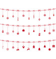 christmas red elements ornaments hanging on rope vector image