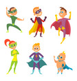 costume of superheroes kids cartoon vector image