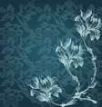 vintage with three Flowers lily border corner vector image