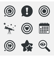 Target aim icons Darts board signs symbols vector image