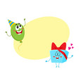 smiling birthday party characters - floating vector image