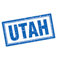 Utah blue square grunge stamp on white vector image