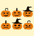 halloween pumpkin set isolated on white vector image