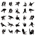 Judo wrestlers silhouette set icons simple style vector image