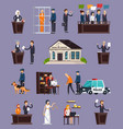 law and justice orthogonal icons set vector image