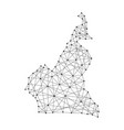 map of cameroon from polygonal black lines and dot vector image