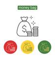 money saving and money bag icon design vector image