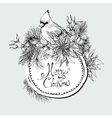 Monochrome Christmas vintage floral greeting card vector image