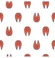 Salmon fish steak line icon seamless vector image