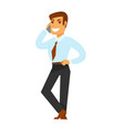 smiling businessman speaking over phone isolated vector image