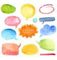 Watercolor hand drawn speech bubbles vector image