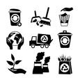 Ecology icon set black and white vector image