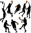 basketball people silhouettes collection vector vector image