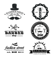 Set of vintage barber shop logo labels badges an vector image