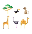 Flat African Animals and Plants Geometric Style vector image
