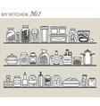 Kitchen utensils on shelves 7 vector image