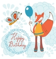 Adorable Happy birthday card with beautiful fox vector image