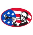 american soldier with bugle vector image vector image