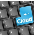 keyboard with cloud computing button vector image