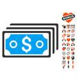 dollar banknotes icon with love bonus vector image