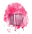 hand drawn accordion on watercolor splash vector image