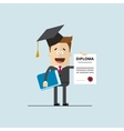 happy businessman or student with a diploma of vector image