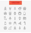 Line Christmas New Year Icons Big Set vector image