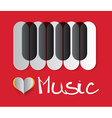 Love Music with Piano Keyboard and Paper Hea vector image