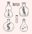 set of hand-drawn doodle bottles for your vector image