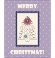 Christmas card with tree vintage vector image vector image