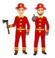 two happy firemen holding fire axe vector image