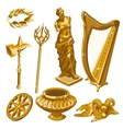 Harp statue weapons and other items of antiquity vector image