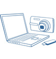Laptop photo camera usb flash drive vector image