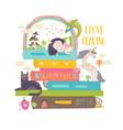 Fairytale concept with bookunicorndragon vector image