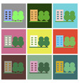 flat icons set multi-storey building vector image
