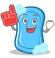 foam finger blue soap character cartoon vector image