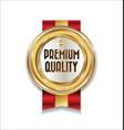 golden retro premium quality badge 1 vector image