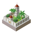 isometric fortress vector image