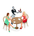two girls are sitting in a cafe robot waiter in vector image