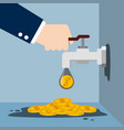tap with gold coins vector image