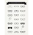 Hipster Retro Vintage Glasses Icon Set vector image