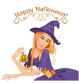 Halloween beautiful witch with pumpkin eps10 vector image vector image